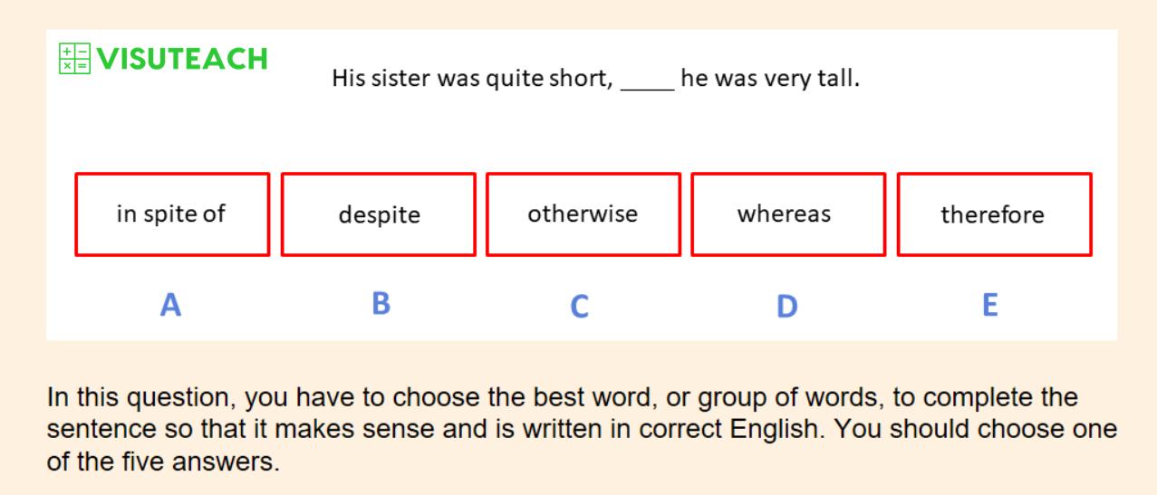 cloze sentence completion iseb common pre-test question