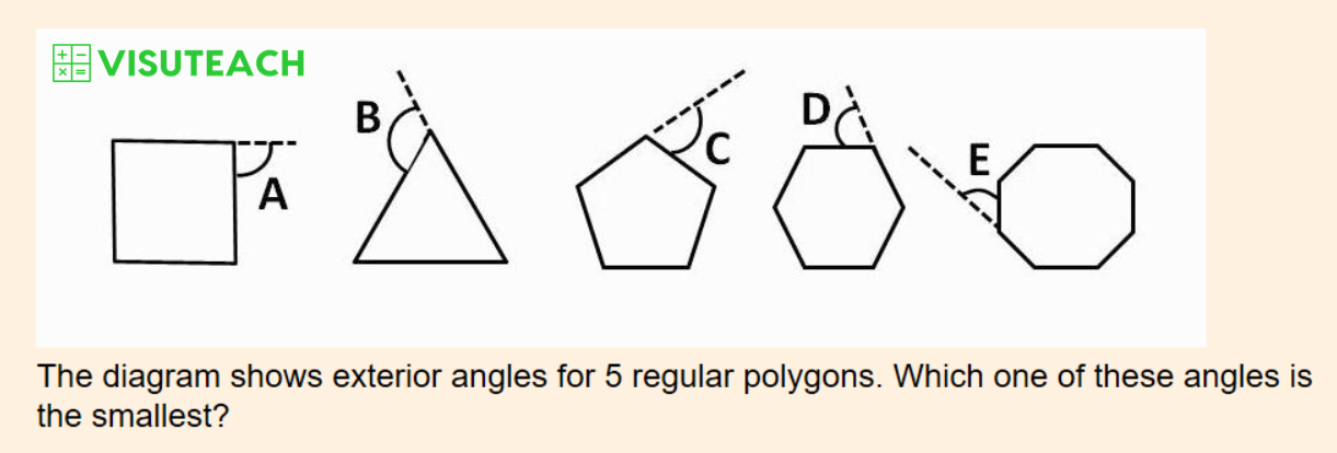 iseb common pre-test maths exterior angles question