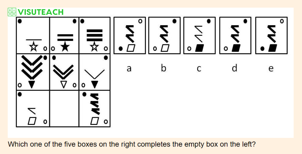 non-verbal reasoning iseb common pre-test question 4