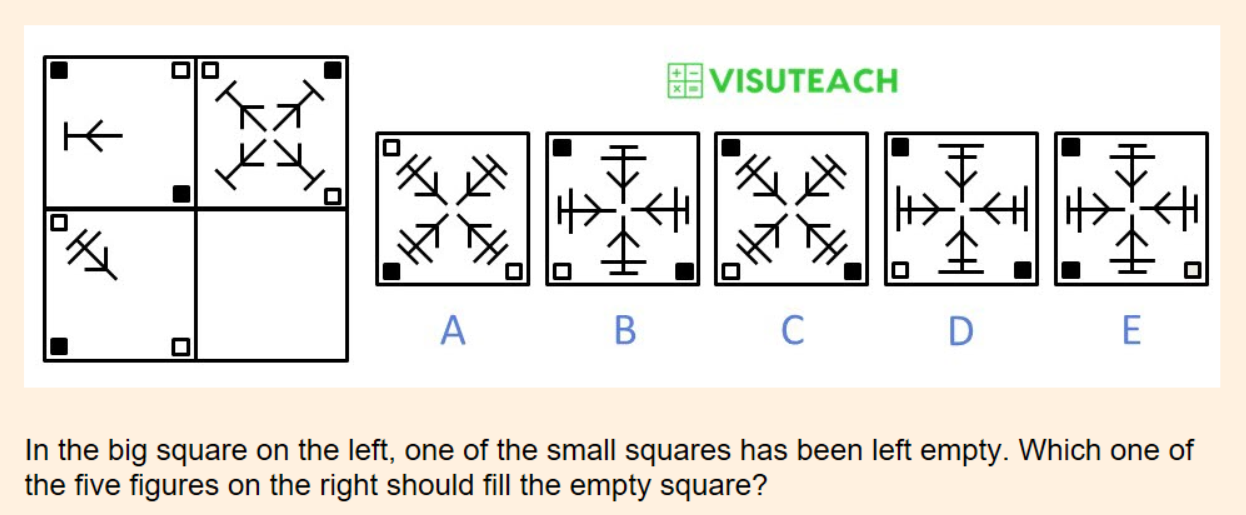 non-verbal reasoning iseb common pre-test question 15