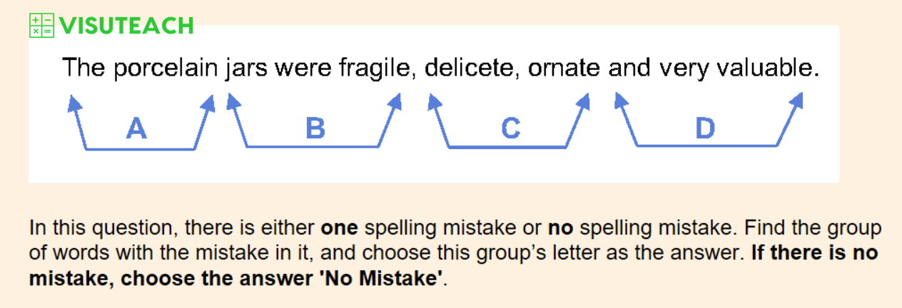spelling iseb common pre-test question