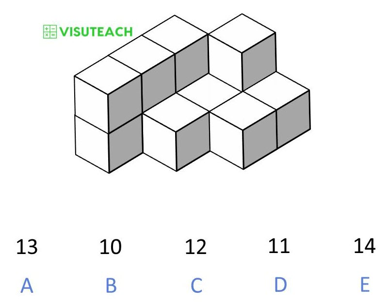 spatial reasoning 11 plus block counting question 1