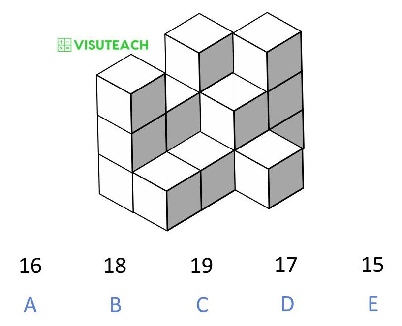 spatial reasoning 11 plus block counting question 2