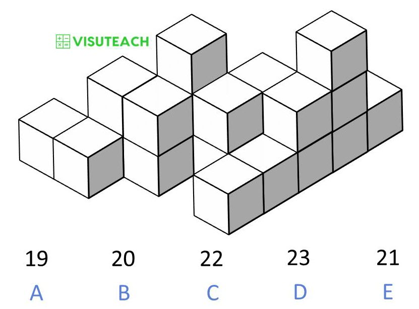 spatial reasoning 11 plus block counting question 3